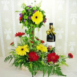 Mixed Gerberas Arrangement with Wine in a basket