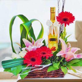 Natural Honey & Mixed Flowers Basket Arrangement