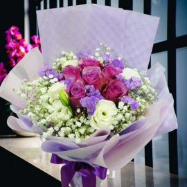 6 yam Roses Hand Bouquet