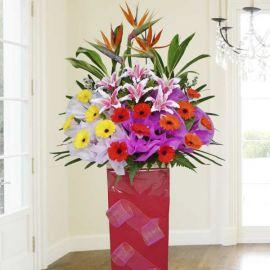 Fresh Gerbera Flowers & Artificial Red Lilies Arrangement 5 Feet Height