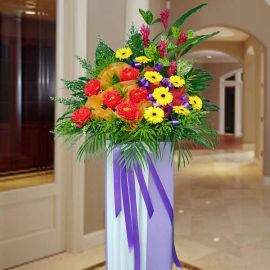 Artificial Peony & Fresh Yellow Gerbera Opening Stand
