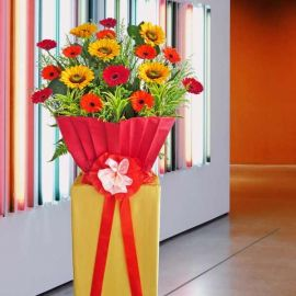 Artificial SunFlower & Fresh Gerbera Flower Opening Stand Arrangement