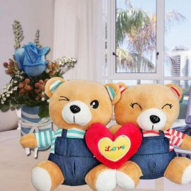 18cm Couple Bear With Blue Rose Standing Bouquet