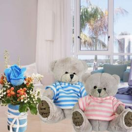 13cm Couple Bear With Blue Rose Standing Bouquet