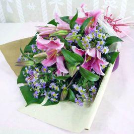 Pink Lily with purple pheonix HandbouquetHandbouquet