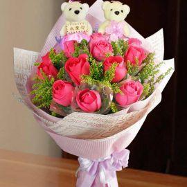 Hot Pink Roses & 12cm 我爱你 Bears