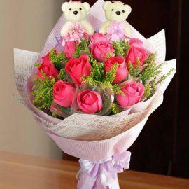 12 Hot Pink Roses & 12cm Bears
