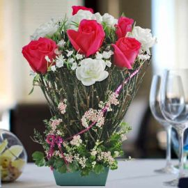 5 Hot Pink Roses With Twigs Standing Bouquet