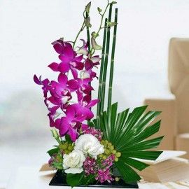 Purple Orchids Table Arrangement Delivery