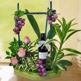 Red Wine 187ml & Peach Roses Arrangement