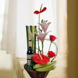 Red Wine & Anthurium Table Arrangement