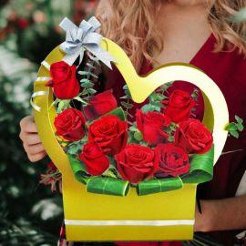 10 Red Roses Arrangement in Heart Shape Handle Flower Gift Box