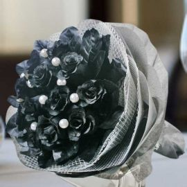 Artificial Black Roses Hand Bouquet