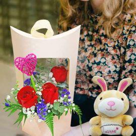 16cm Bunny & 3 Red Roses Arrangement
