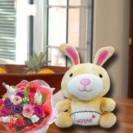 16cm Bunny & Small Artificial Flowers Bouquet.