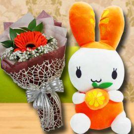 25 cm Bunny & Single Orange gerbera Bouquet
