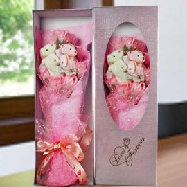 "Handmade Rose Soap & 4"" Mini Couple Bear in Gift Box"
