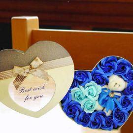Handmade Rose Soap & Mini Bear In Heart-Shape Box.