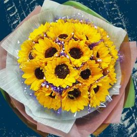 18 SOAP Sunflower HandBouquet ( Flowers Made By Soap )