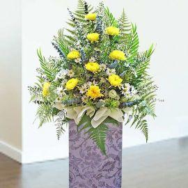 Yellow crysanthemun 5 feet height arrangement