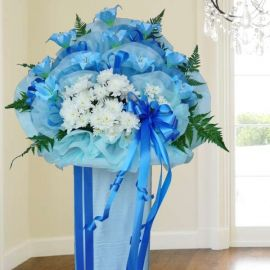 Artificial Blue Lilies & Fresh PomPom Flowers 5' Ht