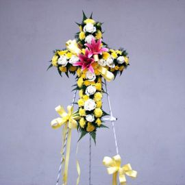 PomPom Yellow & White Roses with Pink Lily