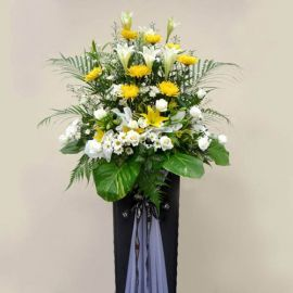 White Lily, Chrysanthemum yellow & White roses arrangement on Bo