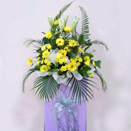 5 Lily and Yellow Gerbera on Box Stand 6' height