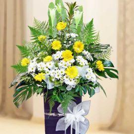 Lily White & Yellow Gerbera On Standing Box 6' HeightGerbera