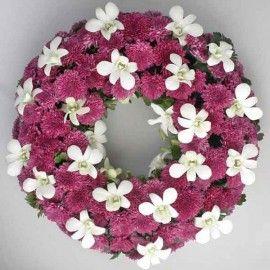 White Orchid & Purple Pom 16inches Sympathy Wreath