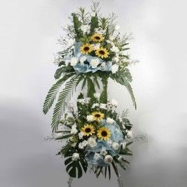 Artificial sunflowers & White Roses Arrangement Abt 5 feet Heigh