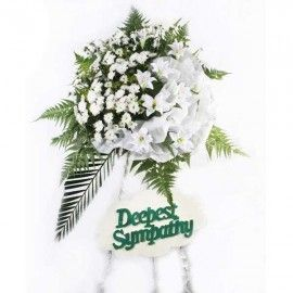 Artificial White Lilies & Fresh Flower Pom Sympathy Arrangement