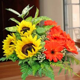 3 Sunflower with 8 Gerbera Table Arrangement