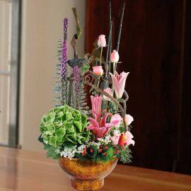 Green Hydrangeas, Lilies & Roses Table Arrangement.