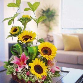 Sunflower & Pink Lily Table Arrangement