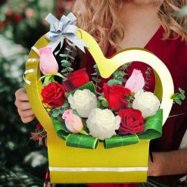 10 Mixed Roses Arrangement in Heart Shape Handle Flower Box