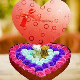 Soap Roses & 2 Mini Bears In Heart-Shape Box