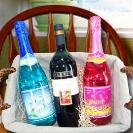 Australian red wine 750 ml with Pink and Blue Sparkling non-Alcoholic cocktail