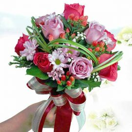 6 Hot Pink & 6 Yam Color Roses Bridal Bouquet