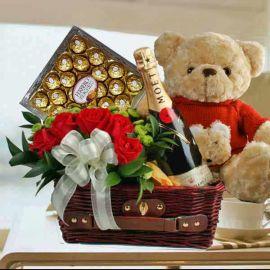 Moet Champagne, Bear, 5 Roses & Chocolates