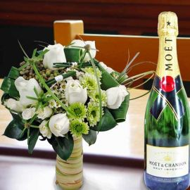 Moet & Chandon Brut Imperial Champagne & White Roses Standing Bouquet