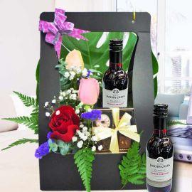 Red Wine 187ml, Mixed Roses & chocolate pralines