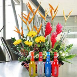 4 Alcoholic Beverages (275ml) about 5% Alcohol With Flowers Arrangement