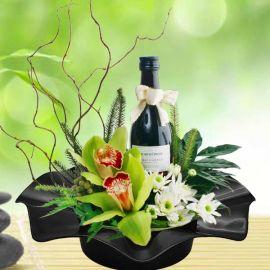 Cymbidium Orchids & Red Wine