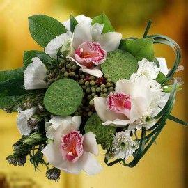 White Cymbidium Orchid With Lotus Pod Bouquet