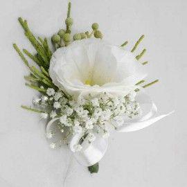 White Eustoma Corsage.