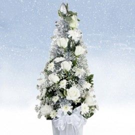 White Cone Christmas Table Flower Arrangement