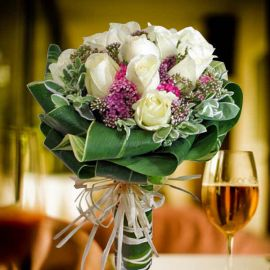 12 White Roses with Pink Sweet-william and special decoration of
