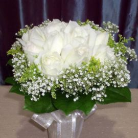 12 White Roses with Gold Pheonix, Babybreath and sala-tip foliag
