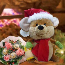 Merry Mouse Bonbon Rocher Peach Roses Posy